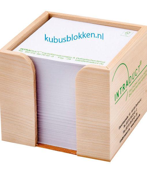 kubushouder-hout-met-papier